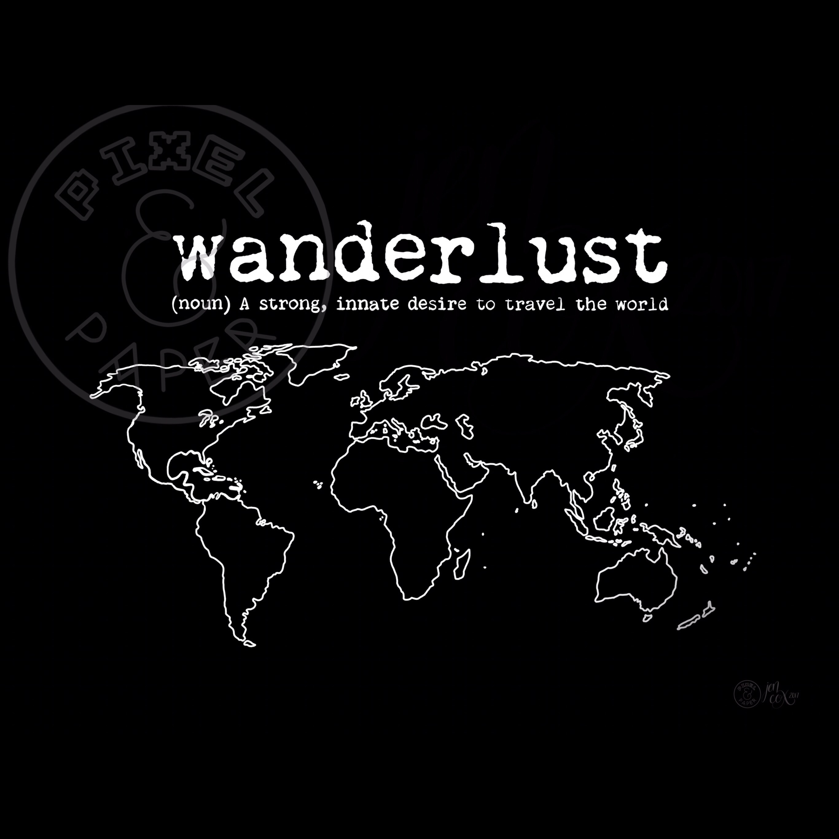 World Map Art Wanderlust Quote Black And White Map Map Of The