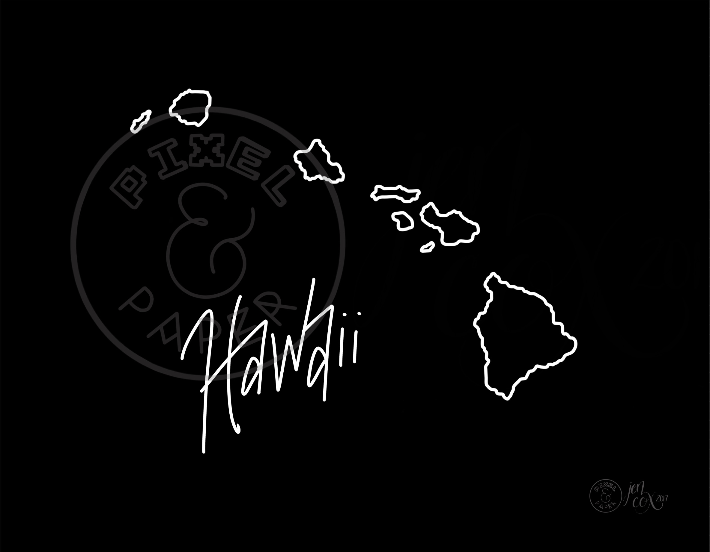 Map Of Hawaii Hawaiian Islands Hawaii Map Black And White Map