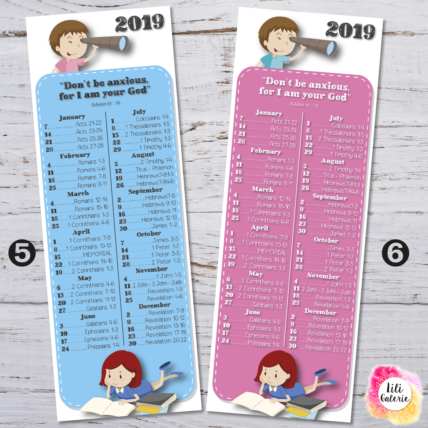 Bookmarks 2019 Bible Reading Schedule + Yeartext Children - Printable file