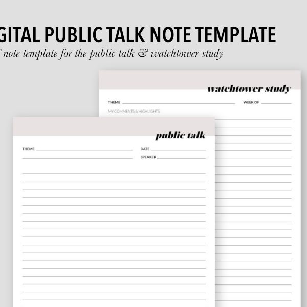 PUBLIC TALK // digital note template