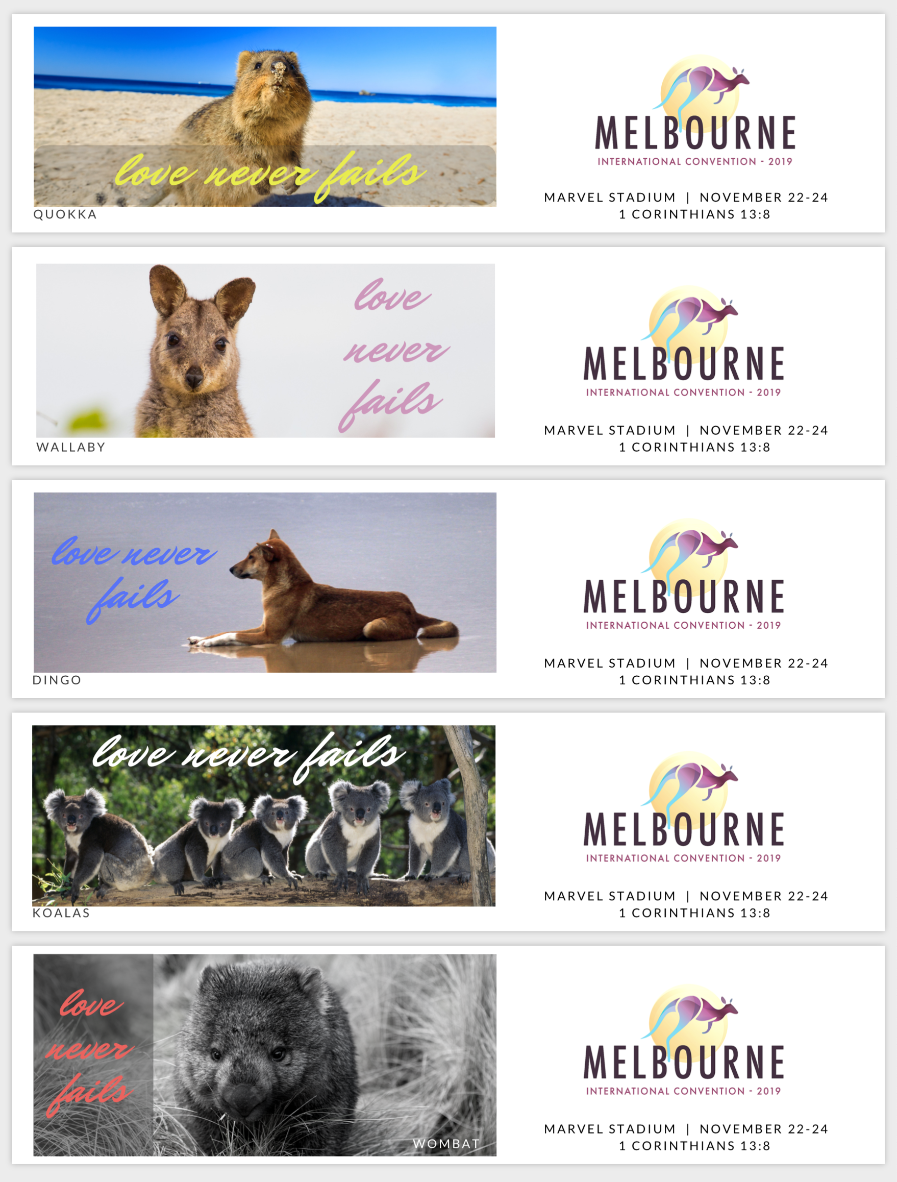 Love Never Fails BOOKMARKS for Melbourne International 2019 - Aussie Animals