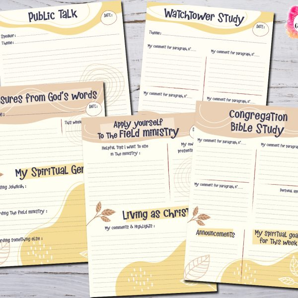 JW Meetings notes Worksheets
