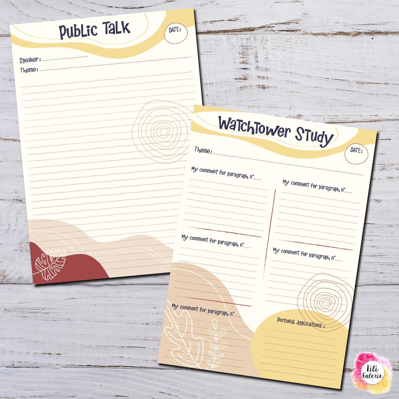JW Meetings notes Worksheets