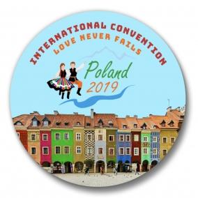 "150 Warsaw Poland JW International Convention Love Never Fails Buttons – 1.25"""