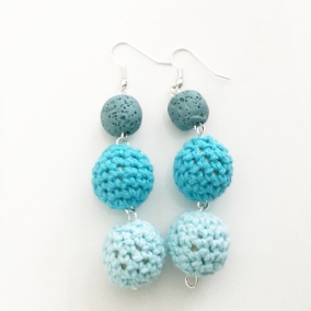 Crocheted turquoise earrings