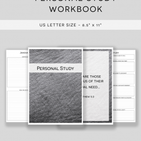 PRINTABLE JW Personal Study Notebook Workbook – US Letter Size – Instant Download – Minimal Edition
