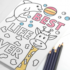 Best Life Ever coloring page for kids with animals