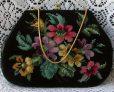 Beautiful Colorful Floral Needlepoint Vintage Handbag