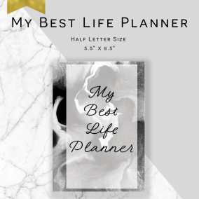 Printable My Best Life Planner – Service Planner – Ministry Planner – Half Letter Size – Instant Download PDF – Marble Edition