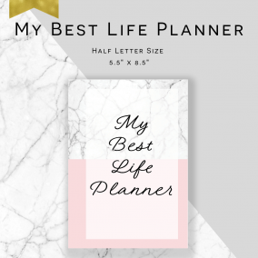 Printable My Best Life Planner – Service Planner – Ministry Planner – Half Letter Size – Instant Download PDF – Marble & Pink Edition