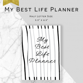 Printable My Best Life Planner – Service Planner – Ministry Planner – Half Letter Size – Instant Download PDF – Stripe Edition