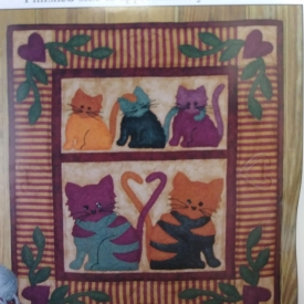 """Cat Tails"" 13″x15″ Wall Hanging Kit by Rachel's of Greenfield – Wool Felt and Cotton – Complete Kit!"