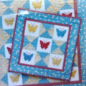 """Butterfly Wall Quilt"" 15″x15″ Quilt Kit by MH Designs – Paper Pieced Foundation – Complete Kit!"