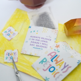 Printable tea bags envelopes Always Rejoice | convention gift