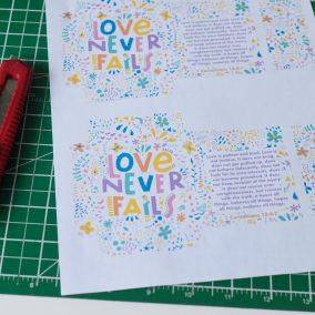 Printable Love Never Fails tea envelope JW