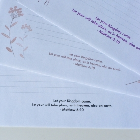 JW letter writing paper template set of 3 featuring Matthew 6:10