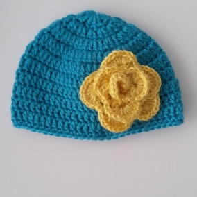 Baby Girl Crochet Blue Hat with Yellow Flower