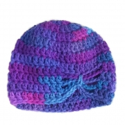 Crochet Purple Butterfly Beanie, Infant, Newborn, Preemie