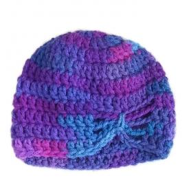 Crochet Purple Butterfly Beanie, Infant, Newborn, Preemie