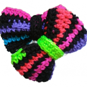 Pair of Neon and Black Crochet Hair Clip Bows