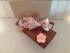 Peach, chocolate brown and cream freestyle or pre tied bow tie dapper box set