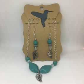 Turquoise Dangle Earring and Necklace Set