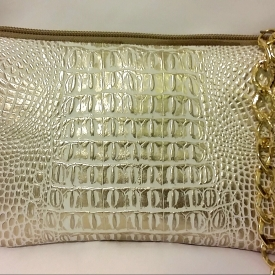 Gold and Beige Alligator Chain Clutch