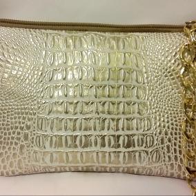 Gold and Beige Alligator Chain Clutch