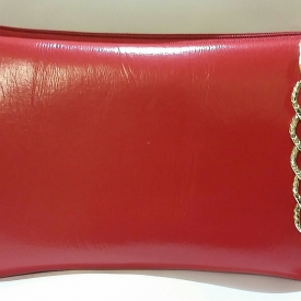 Red Gold Chain Wristlet Clutch