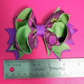 Purple and Green Hair Bow
