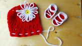 Red Baby Bonnet and Sandal Set