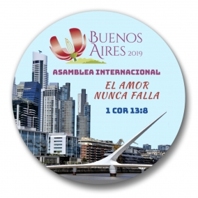 150 JW International Convention BUENOS AIRES Argentina Love Never Fails Buttons – 1.25""