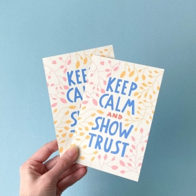 Printable postcards 2021 year text of Jehovah's Witnesses, Keep Calm and show trust – Isaiah 30:15