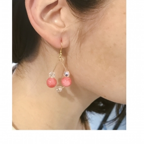 Pink and Crystal Beaded Hoops