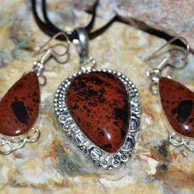 Mahogany Obsidian Pendant & Earrings Set