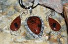 Mahogany Obsidian Pendant & Earrings Set