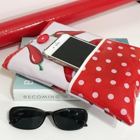 Pretty Oilcloth Book Sleeve With Pocket