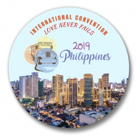 150 Manilla Philippines JW International Convention Love Never Fails Buttons – 1.25""