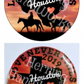 "50 PACK PIN-BACK ""LOVE NEVER FAILS HOUSTON"" TEXAS INTERNATIONAL CONVENTION BUTTONS"