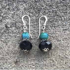 Aqua Blue and Black Dangling Earrings