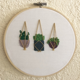 Hand embroidered plant trio