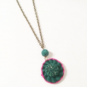 Green Straw Hat Necklace