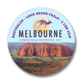 150 Melbourne Australia JW International Convention Love Never Fails Buttons – 1.25""