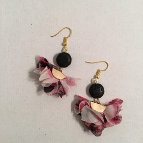 Fabric Tassel Earrings hot pink