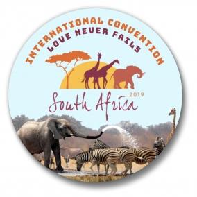 "150 South Africa Johannesburg JW International Convention Love Never Fails Buttons – 1.25"""