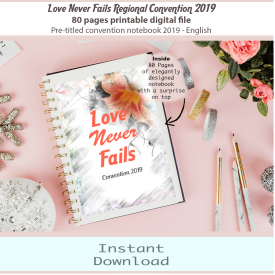 Love Never Fails – English 2019 JW Convention Notebook – Printable Digital Download – 80 Fully Illustrated pages