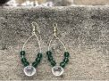 Emerald Green Beaded Hoops
