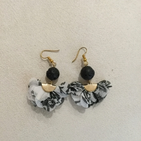 Fabric Tassel Earrings black and white