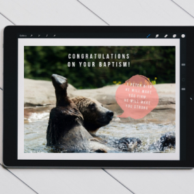 BAPTISM Bear Quoting 1 Peter 5:10 Digital Card