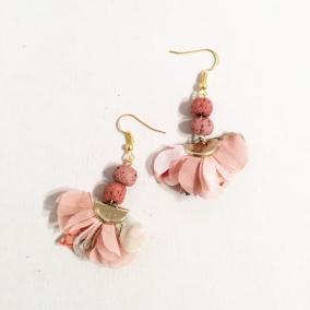 Fabric Tassel Earrings pink